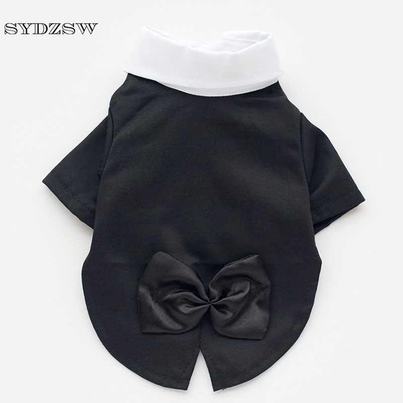 SYDZSW Cat Dog Pet Prince Wedding Suit Bow Tie Party Clothes Fashion Black Puppy Tuxedo Clothing Male Small Dog Costume XS XXL