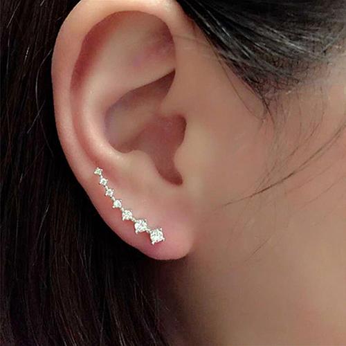 Moda mujer línea piedras Zircon gancho pendientes de la oreja perno prisionero de la joyería BR61