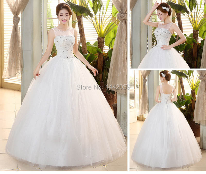 Big Ball Gown Wedding Dresses With Bling : Cheap sparkle bling princess ball gown wedding dresses sheer illusion