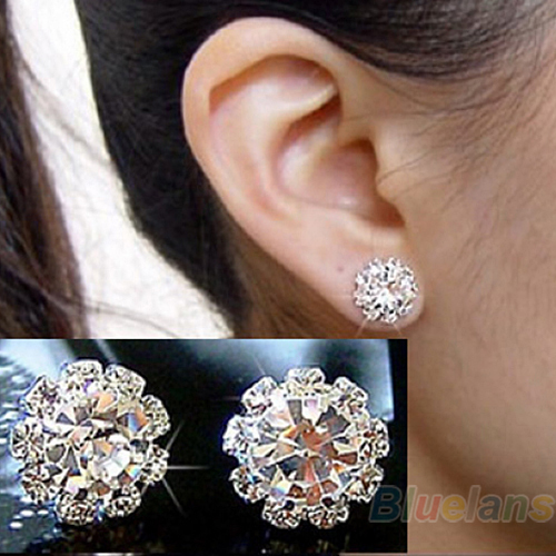 2014 Brand New FASHION spherical Crystal Flower Stud Earrings for Women 0294(China (Mainland))
