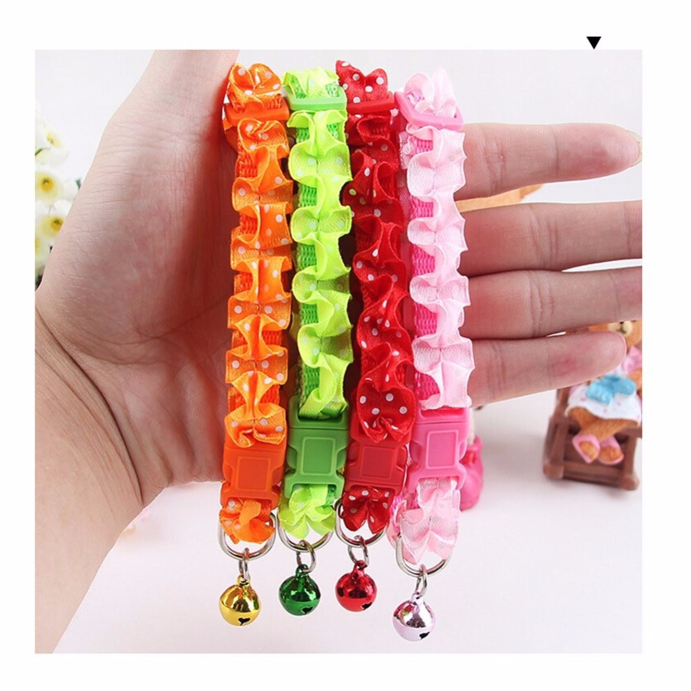 4 Colors Lace Flower Bell Pet Collars,Fashion Bright Dog Collars,Cheap Nylon Cat Puppy Collars,Cute Dog Collars and Leashes(China (Mainland))
