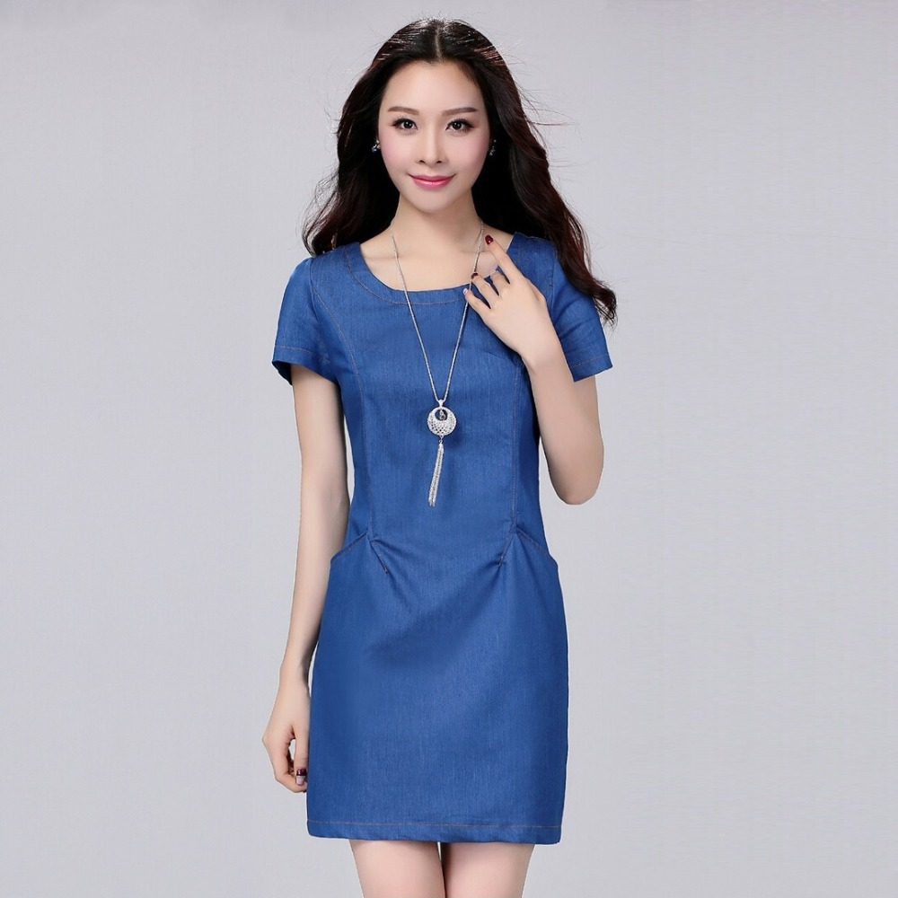 Elegant New Fashion Solid Dress Women Casual Blue Jeans Dresses 2016 New Women