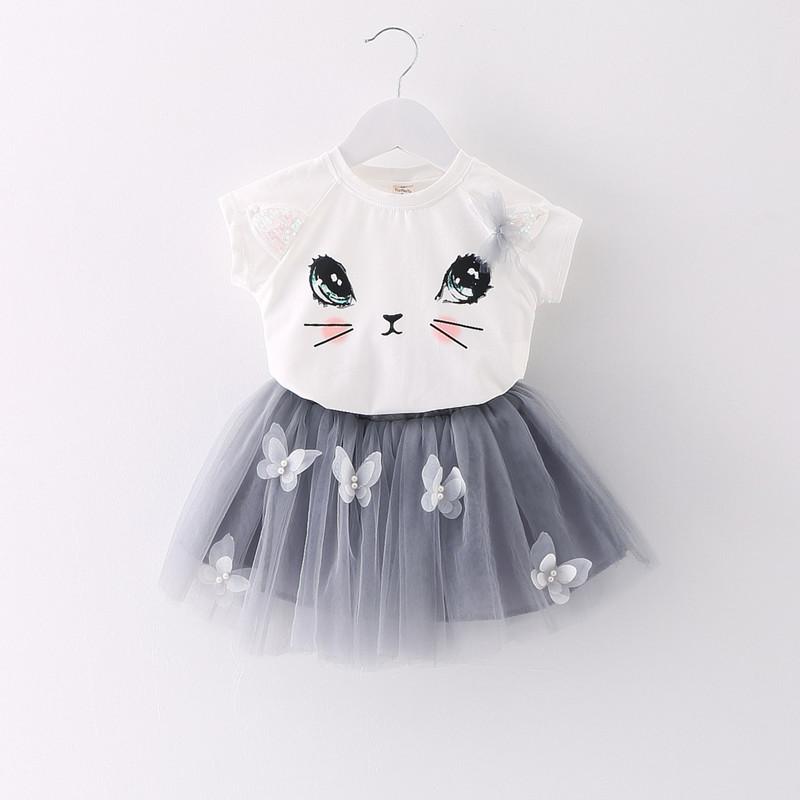 2016 Newborn Baby Girl Clothes Hello Kitty short sleeve 100% Cotton T-shirt+Voile Butterfly Applique Skirt Children Set S9009(China (Mainland))