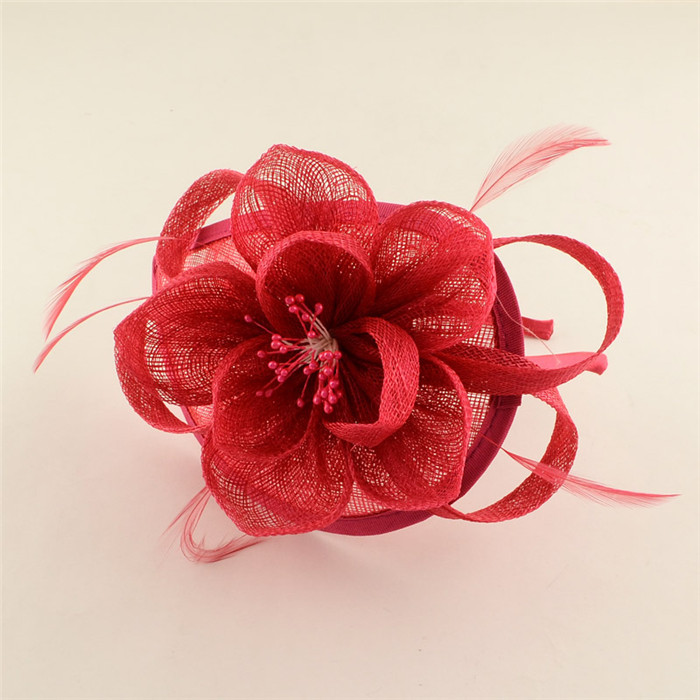 2015 New Women Elegant Hair Fascinators UK for Weddings Flower Organza with Feather Hair Accessories Headband for Ladies 120mm(China (Mainland))