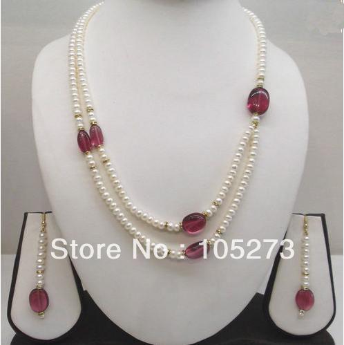 Здесь можно купить  New Arriver Pearl Jewelry Set 4-20mm Natural White Freshwater Pearl Jade Beads Necklace Earrings New Hot Sale Free Shipping  Ювелирные изделия и часы