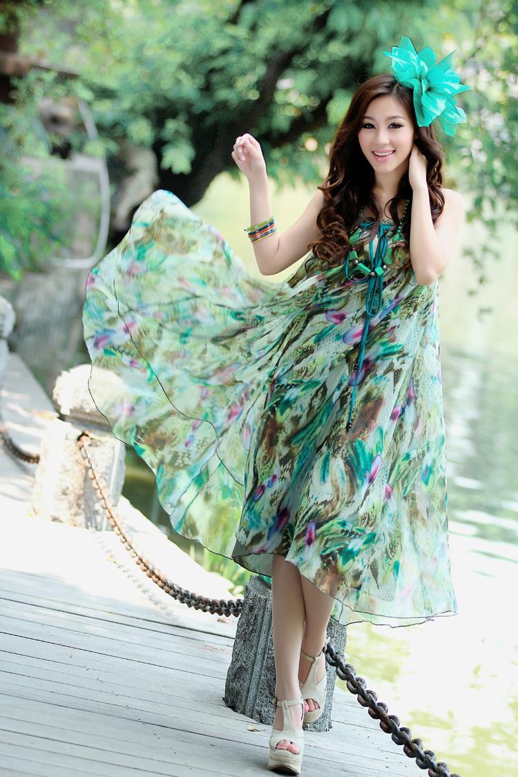 print dresses 2014 women boutique fresh green summer chiffon beach maxi dress bohemian promotion - Beauty Dresses Store store