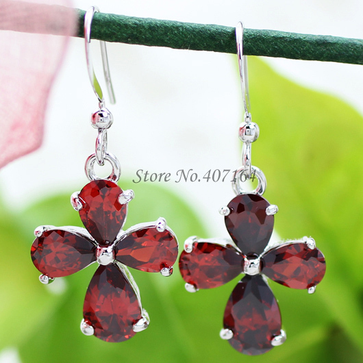 fashion earrings 18K white gold plated women statement red flower party&gift - SunFlower Trade Co.,Ltd store