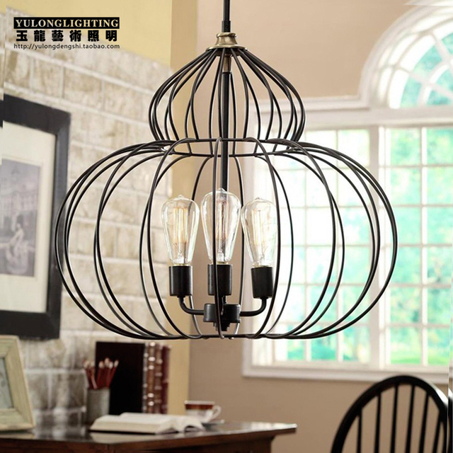 nordic ikea gourd bird cage chandelier american country living room restaurant bar lighting. Black Bedroom Furniture Sets. Home Design Ideas