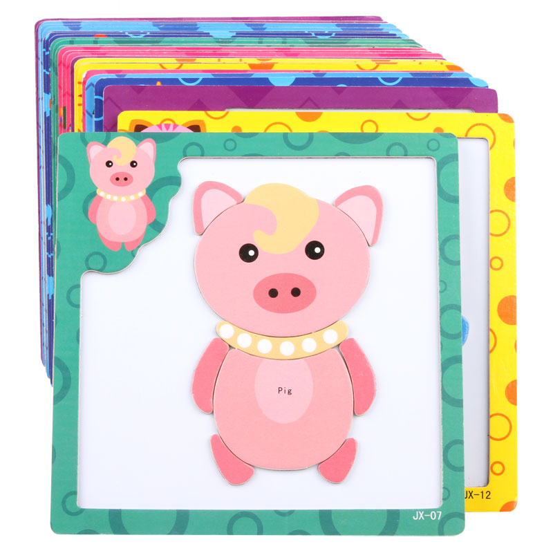 Baby Wooden toys 3D Magnetic wooden Puzzle jigsaw puzzle for children early education cartoon animals puzzles table kids games(China (Mainland))