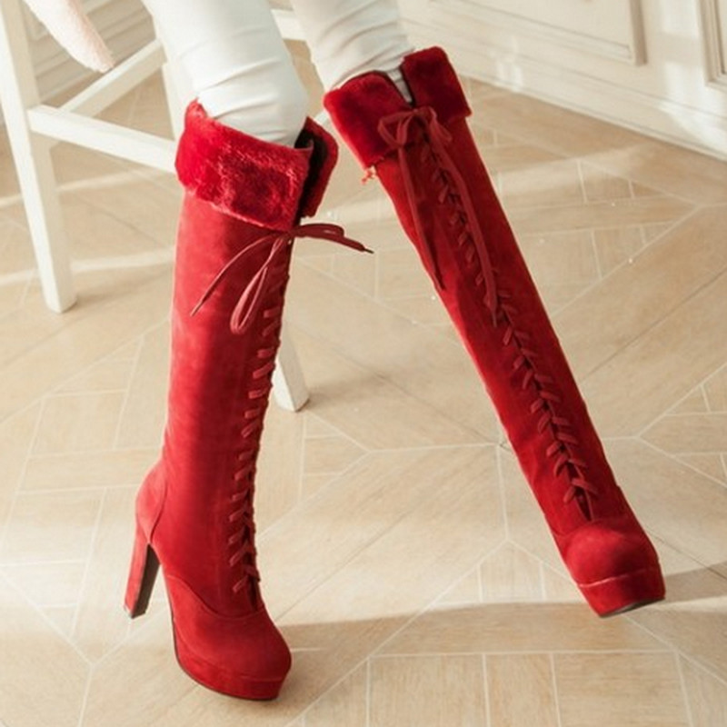 Elegant 2015 New Fashion Retro Style Knee High Winter Warm Fur Winter Boots Lady's Sexy Casual Round Toe Lace Up Long Boots
