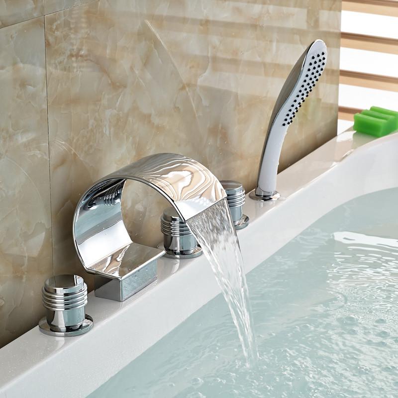 Купить Полированный Хром Водопад Носик Палуба Гора Ванна Кран 5 Отверстия Широкое Ванной Смеситель Кран