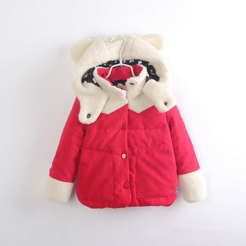 5pcs/lot 2015 girls winter coats fashion cute ear peach upscale jeanette thick warm padded girls jackets cotton girls clothes<br><br>Aliexpress