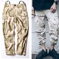 Kanye West Fashion Style Rubber Legs Pleated Cargo Pants Fear Of God Camouflage Military Army Hip