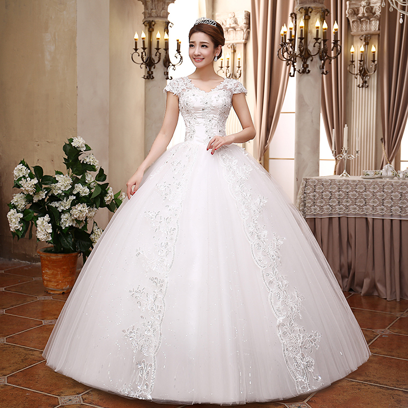 2016 Real Picture wedding dresses Short sleeves Charming applique lace bridal gown new fashion chapel custom made(China (Mainland))
