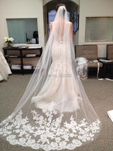 Bride Veils White Applique long wedding veils