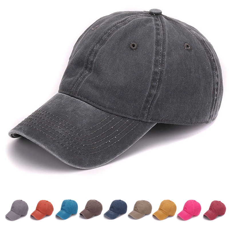 Plain dyed sand washed 100% soft cotton cap blank baseball cap with no embroidery sport mens cap and hat for men and women(China (Mainland))