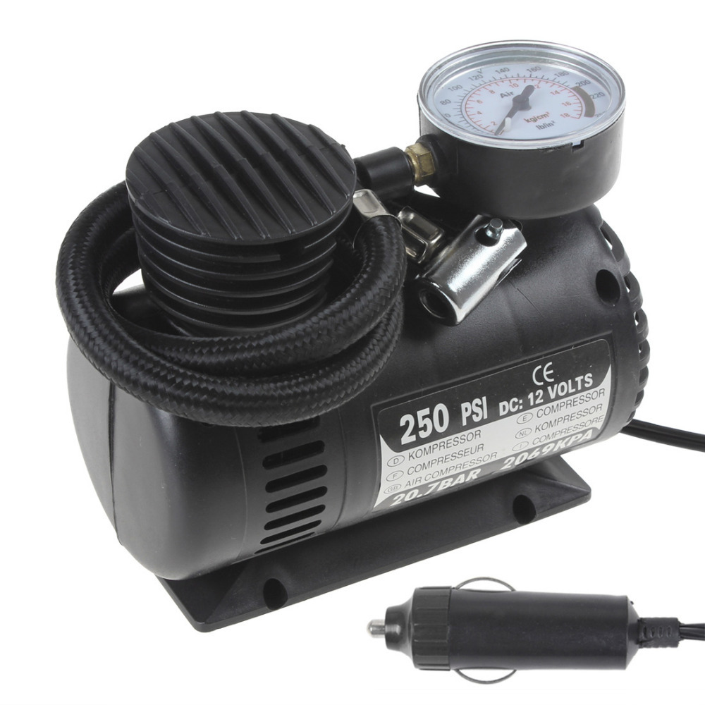 Hot Sale! Portable 12V 90W 250PSI Car Auto Electric Pump Air Compressor Tire Inflator with 3 Pneumatic Nozzle(China (Mainland))