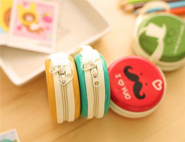 Симпатичные 6 цветов портмоне большой бородой лицо дизайн круглый портативный монета кошелек жесткий ключ держатель для наушников чехол сумка девушки женщин