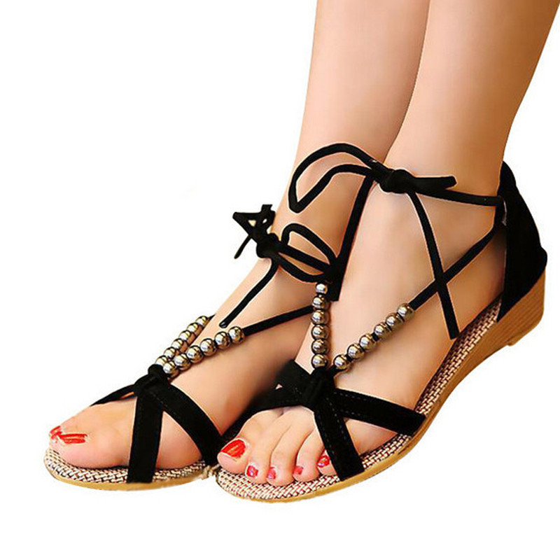 Original New Summer Women Sandal Slippers Pu Shoes Middleaged Woman Sandals