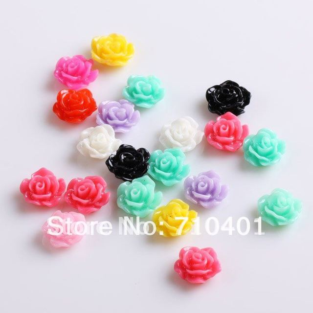 Xmas Free Shipping Wholesale/ Nail Supplier,100pcs 3D Resin Colorful Flower DIY Acrylic UV Gel Polish Tool Nail Design/ Nail Art