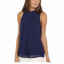 COCKCON Women Summer Blouse Tops Casual Chiffon Sleeveless Blouse Lady Tops Plus Size(China (Mainland))