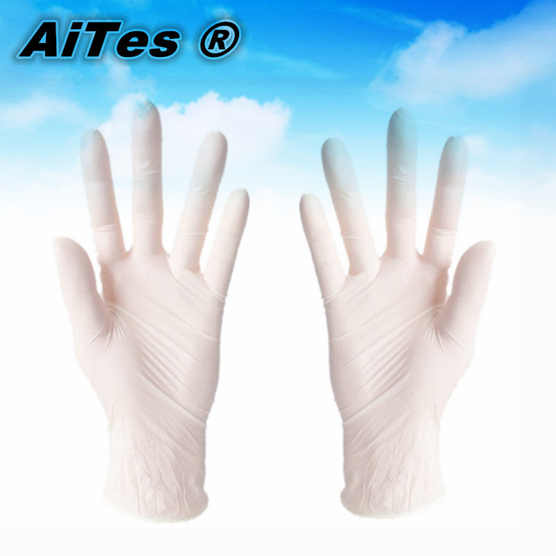 100pcs/lot free shipping white Disposable exam latex gloves rubber protective bowl gloves medical High quality hand protection(China (Mainland))