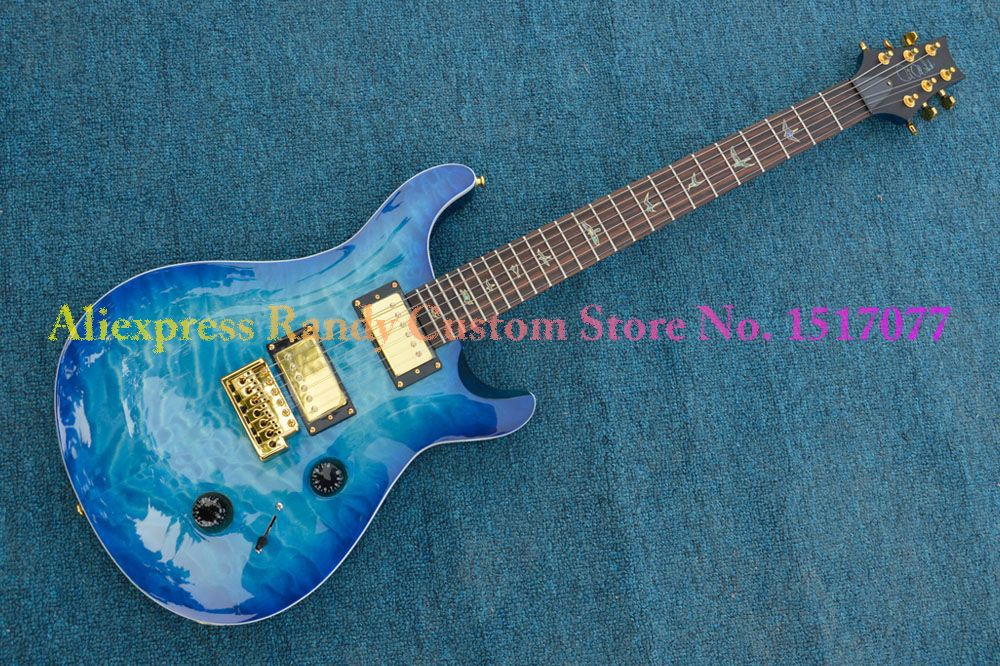Factory Custom Shop Blue Burst Quilted Paul Reed Smith PRS 24 Frets Electric Guitar Gold Hardware Double Tremolo Free Shipping(China (Mainland))