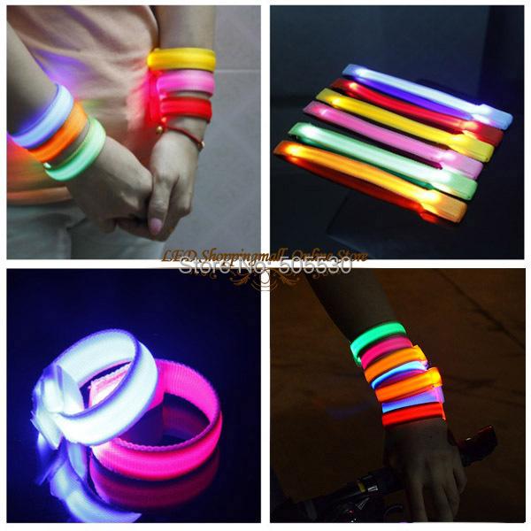 20pcs/lot Led Wrist Band Running Cycling Safety reflective Glow Belt Light Arm Band led wrist straps light(China (Mainland))