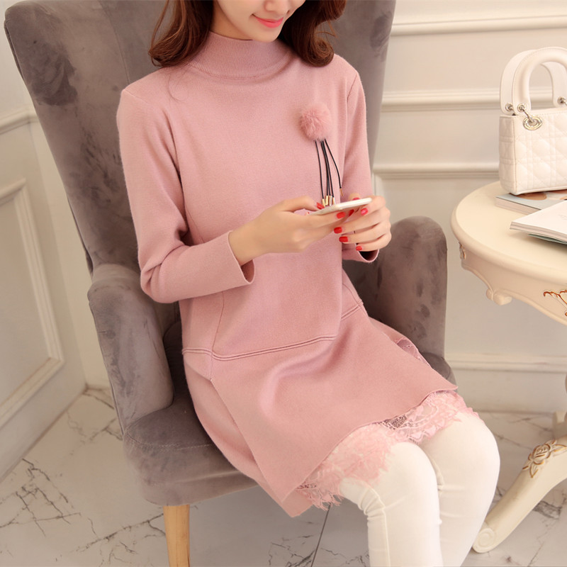 Women Winter Knitted Dress Lady Pullovers Straight Mini Dress With Hairball Decoration Lace Outwear Dress Warm Women Clothing(China (Mainland))