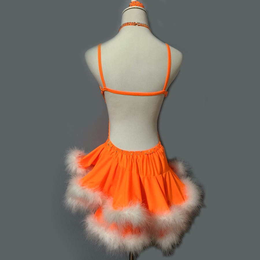 New style Latin dance costume sexy senior stones feather latin dance dress for women latin dance competition dresses S-4XL 4