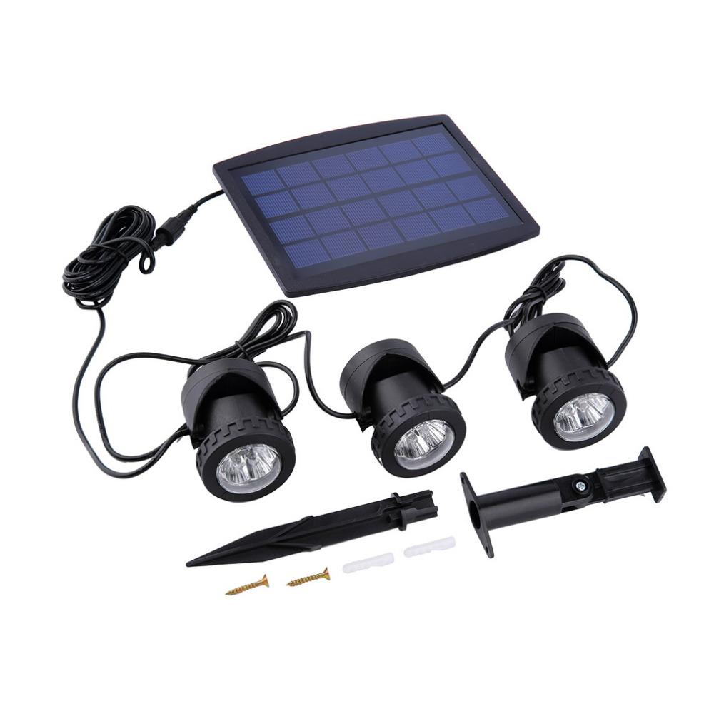 1PC Solar Panel With Solar Powered 3 Bulbs Submarine Spotlight 18LEDS RGB/Cool White Garden Pool Pond Lamp Underwater Lights<br><br>Aliexpress