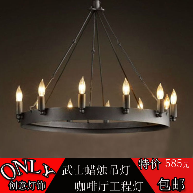 American Iron vintage industrial loft living room Round Table Restaurant Bar Cafe engineering lights candle chandelier(China (Mainland))