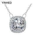 Real 925 Sterling Silver Necklaces Pendants Luxury Square 4 Carat CZ Diamond Statement Necklace Women Vintage