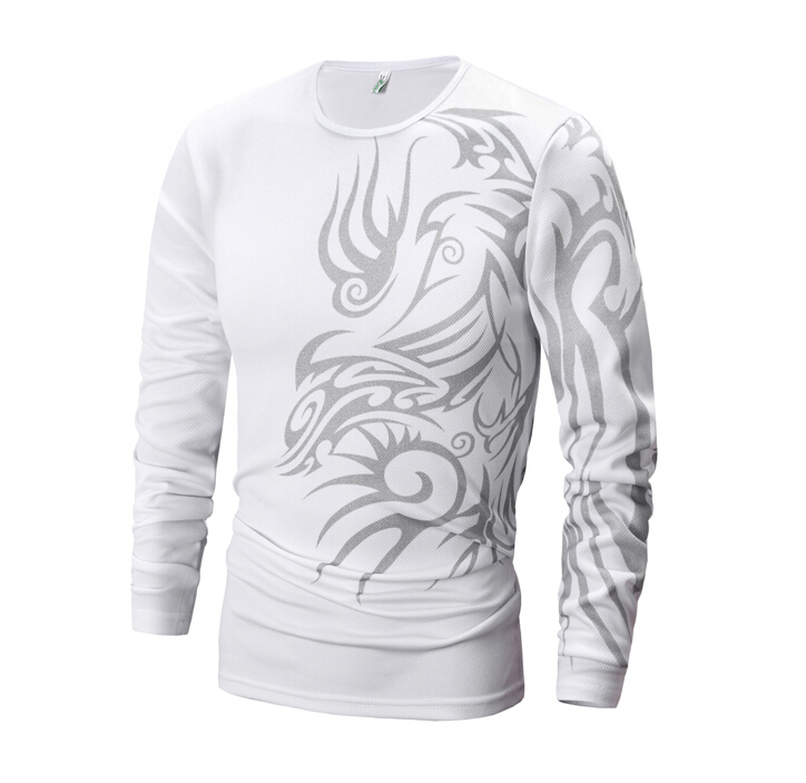 Hot selling men fashion long sleeved t shirt tattoo for Selling t shirt designs