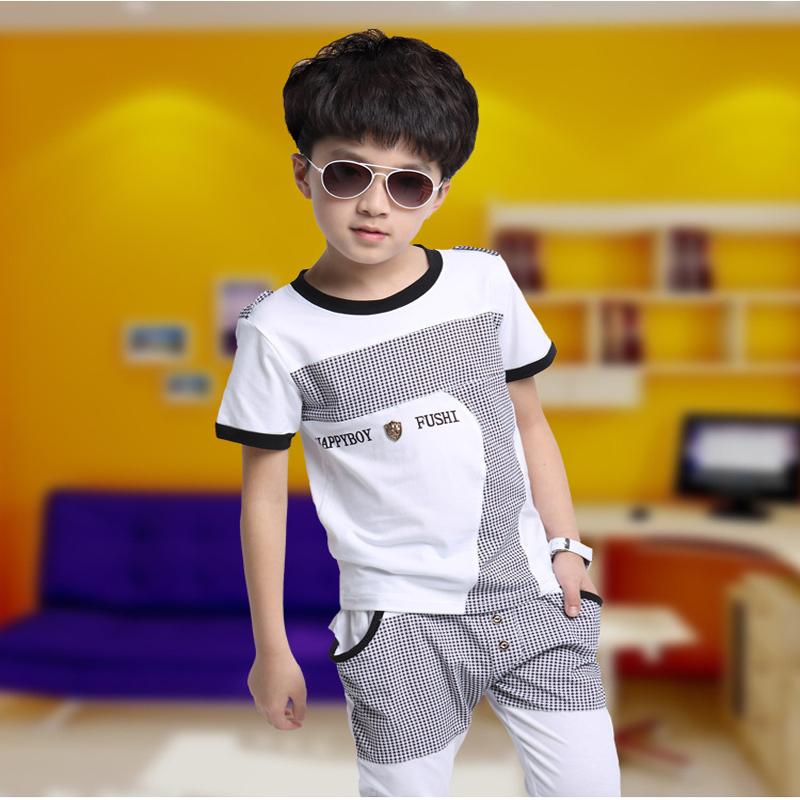 Fashion Dot Boy's Set 2015 Thin Letters Baby Suits Summer Casual Cotton Baby Outfits Shirt Pants Stitching Fashion Dot Boy's Set(China (Mainland))