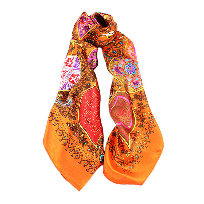 Min Order $10 2014 New Coming Fashion Design Red Orange Color Printed Silk Square Scarves For Women(China (Mainland))