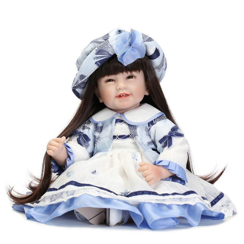 2016 New princess dolls for girls toys lifelike girl reborn babies dolls with brown long hair blue dress hat bonecas