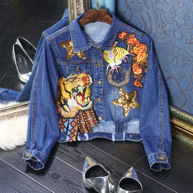 Джинсовая Классический Куртка Мода 2016 Осень С Длинным Рукавом Однобортный Повседневная Марка Вышивка отложным Женщин Новый Синий Пальто