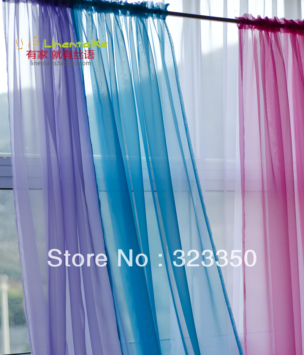 free shipping,ready made gauze curtain,rod pocket voile curtain,string curtian.1.4m*2.5m,4 pieces a lot(China (Mainland))