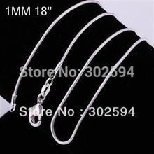 Buy 50pcs Promotions (16 18 20 22 24inch) Free Beautiful fashion silver plated jewelry charm 1MM Snake chain Necklace for $18.69 in AliExpress store