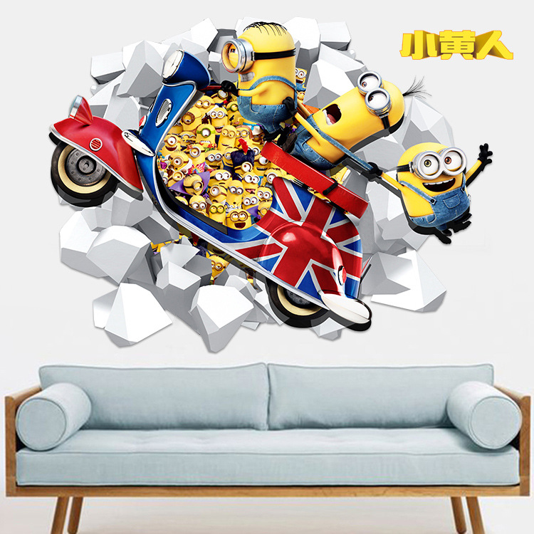 3D Minions Cartoon Child Room Diy Decorative Wall Stickers Removable Stickers WallPaper for Kids Room Home Decorations Poster(China (Mainland))