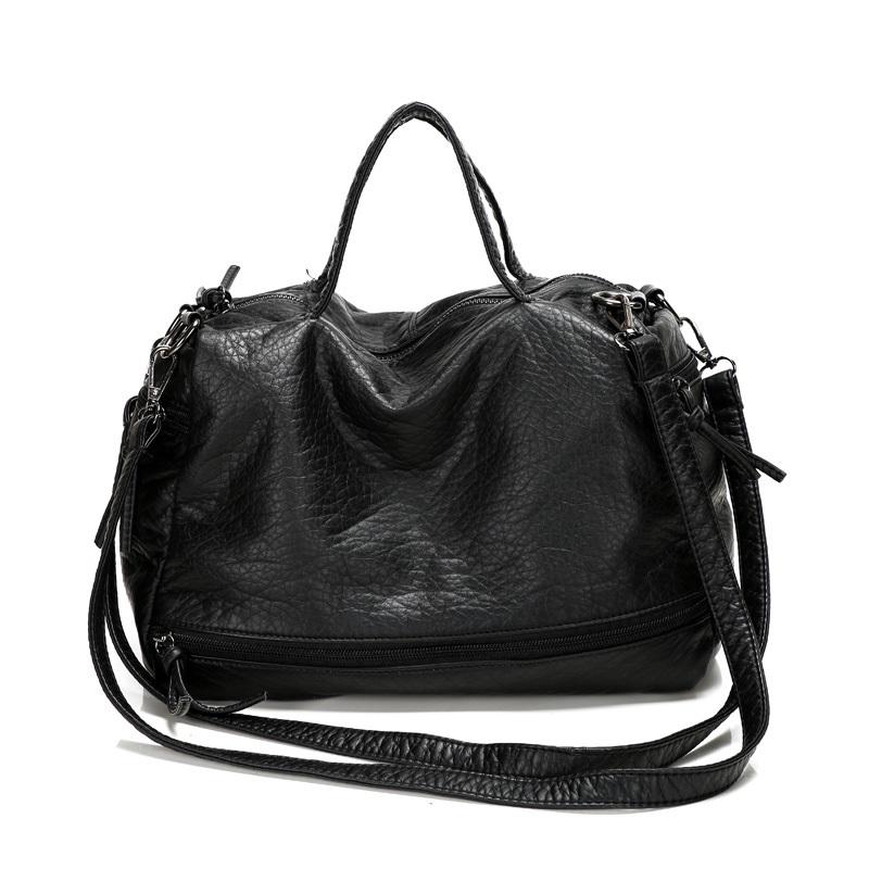 Fashion women Washed leather motorcycle bag Feels super soft PU handbag Shoulder bag large leisure travel bag Free shipping(China (Mainland))