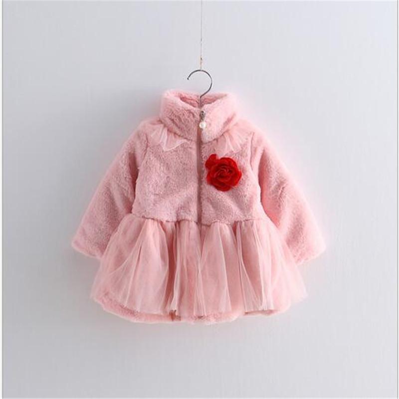 2016 Kids Girls Faux Fur Tulle Lace Jackets Baby Girl Fall Winter Warm Princess Outwear Zipper Coat floral Brooch