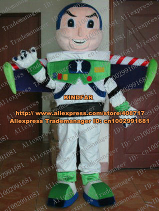 Brave White Buzz Lightyear Toy Story Mascot Costume Party Suit Adult Size Robot With Green Shoes Round Face No.4179 Free Ship(China (Mainland))