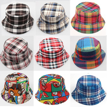 2016 Spring summer Kids Fashion Plaid Hats sun caps for Baby Boys Girls Beach Hats 18 Colors for kids 2-8 years CBLH279(China (Mainland))