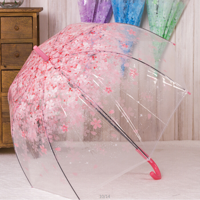 Clear Umbrella Fashion Transparent Cherry Blossom Mushroom Apollo Princess Women Rain Umbrella Sakura Long Handle Umbrellas(China (Mainland))
