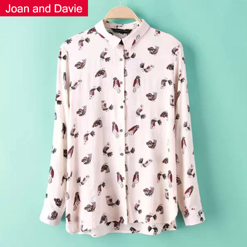 Women's clothing 2015 new fashion spring long sleeve shirts slim elegant printed birds casual feminine blouses - Joan and Davie store