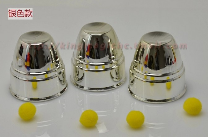 FBH141670 Three fairy to hole Three cups of the magic ball size cup pro Bright silver gold three fairy hole Magic props(China (Mainland))