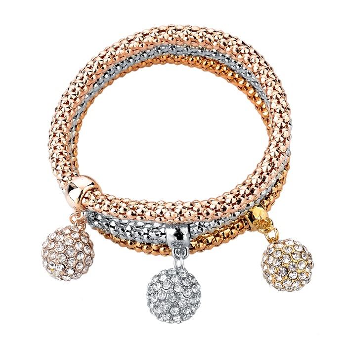 2015 Vintage Crystal Ball Pendant Charm Bangles 3Pcs Fashion Jewellery Silver Elastic Chain Gold Bracelets For Women SBR150181(China (Mainland))