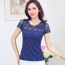 New 2016 Spring Tops Fashion Short-sleeved Lace tops Gauze patchwork hollow women tops plus size casual Beading blouse shirt(China (Mainland))